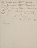 "Autographs:Celebrities, Edith Kermit Roosevelt Autograph Letter Signed as First Lady""Edith Kermit Roosevelt""...."