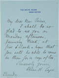 "Autographs:U.S. Presidents, Helen Herron Taft Autograph Letter Signed as First Lady ""HelenH. Taft""...."