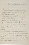 """Autographs:Statesmen, Roger B. Taney Autograph Letter Signed as Chief Justice of the Supreme Court """"R. B. Taney""""...."""