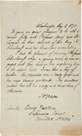 "Autographs:U.S. Presidents, Salmon P. Chase Letter Signed as Chief Justice of the Supreme Court""S. P. Chase""...."
