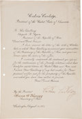 Autographs:U.S. Presidents, Calvin Coolidge Document Signed as President....