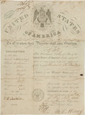 """Autographs:Statesmen, William L. Marcy Passport Signed as Secretary of State """"W. L.Marcy""""...."""
