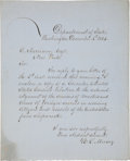 """Autographs:Statesmen, William L. Marcy Letter Signed as Secretary of State """"W. L.Marcy""""...."""