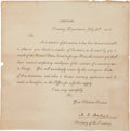Autographs:Statesmen, Alexander J. Dallas Printed Circular Signed as Secretary of theTreasury. ...