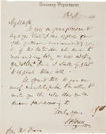 "Autographs:Statesmen, Salmon Chase Autograph Letter Signed as Secretary of the Treasury""S. P. Chase""...."