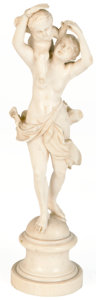 Decorative Arts, Continental:Other , A CONTINENTAL CARVED IVORY FIGURE. Probably Dieppe, France, circa1850. Unmarked. 9-1/4 inches (23.5 cm). ...
