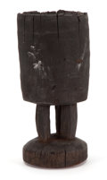 African, The Collection of Paul Gregory and Janet Gaynor. AFRICANCONGO CHIEF'S FOOTED DRINKING BUCKET FROM THE COLLECTION OF ADR...