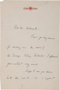 "Autographs:U.S. Presidents, John F. Kennedy Autograph Letter Signed ""Jack K."" One and one-quarter page, 7"" x 10.5"", [Palo Alto, California], ca...."