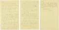 "Autographs:Celebrities, Howard Hughes Autograph Letters (Two) Signed ""Howard."" Bothare written on lined yellow pages from a legal pad, 8.5""... (Total:2 Items)"