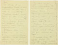 "Autographs:Celebrities, Howard Hughes Autograph Letter. Two yellow pages from a legal pad,8.5"" x 13"", n.p., n.d. [ca. 1968], to Hughes' clo..."