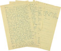 "Autographs:Celebrities, Howard Hughes Autograph Letter Signed ""Howard."" Three andone-quarter yellow pages from a legal pad, 8.5"" x 13"", n.p..."