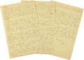 """Autographs:Celebrities, Howard Hughes Autograph Letter Signed """"Howard."""" Three yellowpages from a legal pad, 8.5"""" x 13"""", n.p., dated with a ..."""