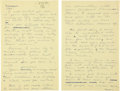 "Autographs:Celebrities, Howard Hughes Autograph Letter Signed ""Howard."" Two yellowpages from a legal pad, 8.5"" x 13"", n.p., dated with a di..."
