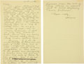 "Autographs:Celebrities, Howard Hughes Autograph Letter Signed ""Howard."" One andone-quarter yellow pages from a legal pad, 8.5"" x 13"", n.p.,..."