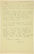 """Autographs:Celebrities, Howard Hughes Autograph Letter Signed """"Howard."""" One yellow page from a legal pad, 8.5"""" x 13"""", n.p., dated with a dif..."""