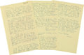 "Autographs:Celebrities, Howard Hughes Autograph Letter Signed ""Howard."" Three yellow pages from a legal pad, 8.5"" x 13"", n.p., dated wit..."
