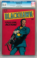 Golden Age (1938-1955):War, Blackhawk #19 (Quality, 1948) CGC VF 8.0 Off-white pages....