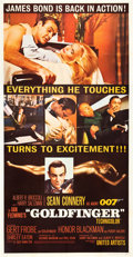 "Movie Posters:James Bond, Goldfinger (United Artists, 1964). Three Sheet (41"" X 81"").. ..."