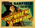 "Movie Posters:Crime, They Made Me a Criminal (Warner Brothers, 1939). Title Lobby Card(11"" X 14"").. ..."