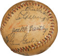 Autographs:Baseballs, 1936 New York Yankees & Detroit Tigers Signed Baseball withGehrig, Cobb....