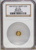 California Fractional Gold: , 1854 25C Liberty Octagonal 25 Cents, BG-104, R.4, MS64 ProoflikeNGC. A hint of rose is noted on the frosted, shelf-like de...