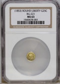 California Fractional Gold: , Undated 25C Liberty Round 25 Cents, BG-221, R.3, MS63 NGC. Thissharply struck and smooth green-gold piece has the initial ...