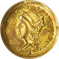 California Fractional Gold: , 1854 50C Liberty Round 50 Cents, BG-436, R.6, MS62 NGC. Defianteagle reverse without scroll. The surfaces on this distinct...