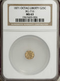 California Fractional Gold: , 1871 25C Liberty Octagonal 25 Cents, BG-717, R.3, MS63 NGC. Evenlystruck and flashy with generally smooth straw-gold surfa...
