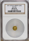 California Fractional Gold: , 1871 25C Liberty Octagonal 25 Cents, BG-765, R.3, MS63 ProoflikeNGC. Select and adequately struck with moderately reflecti...