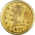 California Fractional Gold: , 1872 25C Washington Round 25 Cents, BG-818, Low R.4, MS63 PCGS.Everyone knows the two basic types of California fractional...