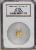 California Fractional Gold: , 1880/76 25C Indian Round 25 Cents, BG-885, R.3, MS64 Prooflike NGC.A flashy and problem-free example that clearly shows th...