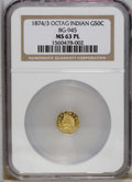 California Fractional Gold: , 1874/3 50C Indian Octagonal 50 Cents, BG-945, High R.4, MS63Prooflike NGC. Frosty devices contrast with reflective fields....