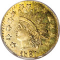 California Fractional Gold: , 1881 50C Indian Octagonal 50 Cents, BG-952B, Low R.6, MS63Prooflike NGC. Low R.6. Misattributed by NGC as the unique BG-95...