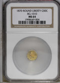 California Fractional Gold: , 1870 50C Liberty Round 50 Cents, BG-1010, R.3, MS62 PCGS. PCGSPopulation (29/83). (#10839)...