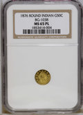 California Fractional Gold: , 1876 50C Indian Round 50 Cents, BG-1038, R.4, MS65 Prooflike NGC.This evenly struck yellow-gold Gem has flashy fields that...
