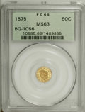 California Fractional Gold: , 1875 50C Indian Round 50 Cents, BG-1056, High R.4, MS63 PCGS.Striking contrast is noticed between the motifs and fields, e...