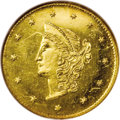 California Fractional Gold: , 1870 $1 Goofy Head Round 1 Dollar, BG-1205, High R.4, MS64Prooflike NGC. The popular Goofy Head type with a prominent jaw ...