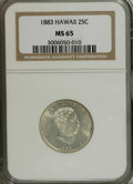 Coins of Hawaii: , 1883 25C Hawaii Quarter MS65 NGC. Smooth partially prooflike fieldsoffer a degree of contrast with the well impressed moti...