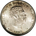 Coins of Hawaii: , 1883 25C Hawaii Quarter MS66 NGC. Pearl-gray and walnut-brownshades compete for territory throughout this lustrous and lov...