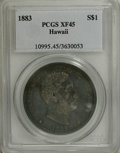 Coins of Hawaii: , 1883 $1 Hawaii Dollar XF45 PCGS. Gold-tinged violet toning coversmost of this Choice XF exam...