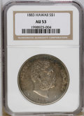Coins of Hawaii: , 1883 $1 Hawaii Dollar AU53 NGC. A hint of peripheral luster isevident beneath deep violet an...