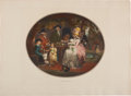 Books:Prints & Leaves, George Morland, painter. A Tea Garden. Hand-coloredlithographic print depicting a family enjoying tea outdoors....