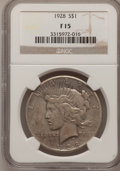 Peace Dollars: , 1928 $1 Fine 15 NGC. NGC Census: (6/4768). PCGS Population(4/7158). Mintage: 360,649. Numismedia Wsl. Price for problem fr...