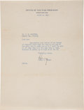 """Autographs:U.S. Presidents, Harry S. Truman Typed Letter Signed as Vice President""""Harry""""...."""
