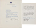 "Autographs:Statesmen, Alben W. Barkley Autographed Oath of Office and Typed Letter Signedas Vice President ""Alben W. Barkley""...."