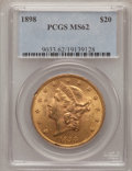 Liberty Double Eagles: , 1898 $20 MS62 PCGS. PCGS Population (490/142). NGC Census:(599/197). Mintage: 170,300. Numismedia Wsl. Price for problem f...
