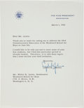 "Autographs:U.S. Presidents, Lyndon B. Johnson Typed Letter Signed as Vice President ""LyndonB. Johnson""...."