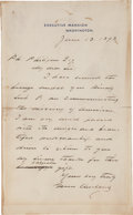"Autographs:U.S. Presidents, Grover Cleveland Autograph Letter Signed as President ""GroverCleveland""...."