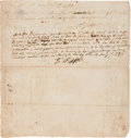 "Autographs:Statesmen, Declaration Signer Robert Treat Paine Document Signed ""R TPaine""...."