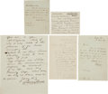 Autographs:Authors, Literary Autograph Letters Collection.... (Total: 5 Items)
